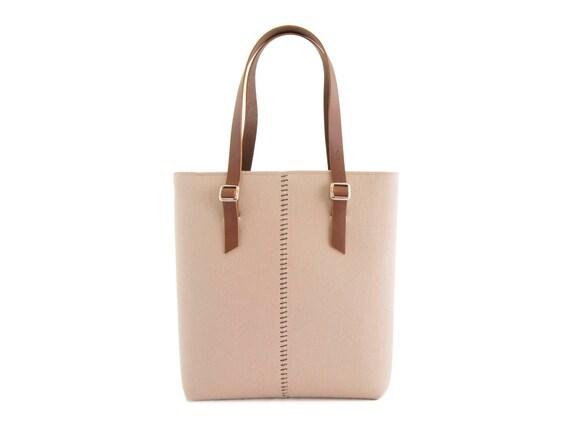Felt TOTE BAG / leather straps / almond / beige / felt women's bag / 100% wool felt / made in Italy