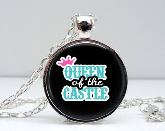 Queen of Castle Necklace : Black. Glass Dome Art Picture Pendant Photo Pendant Handcrafted Jewelry  (1607)