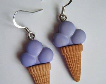 ♥ Purple ice cream cone earrings ♥