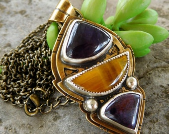 Brass Amethyst, tigers eye and sugilite necklace | Quote stone statement pendant | Brave enough to dream