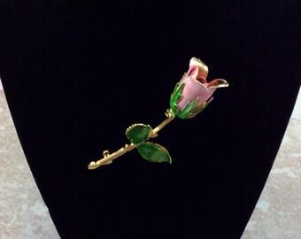 Enamel Pin, Vintage Enamel Brooch, Enamel Jewelry, Pink Rose Pin, Vintage Jewelry, Enamel Flower Brooch, Brooch Bouquet, Valentines Day Gift