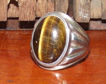 Vintage Tiger Eye Silver Ring