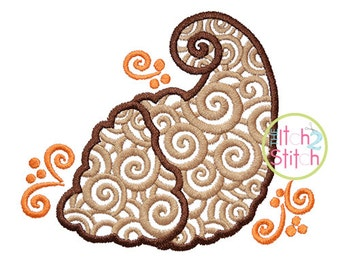 Scroll Cornucopia Embroidery Design For Machine Embroidery, INSTANT DOWNLOAD now available