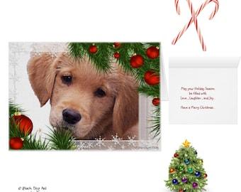 Golden Retriever Christmas Cards P10S - Golden Retriever Art - Dog Christmas Card - Holiday Cards - Cute Christmas Cards - Santa Dog Card