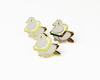 bread pigeon hard enamel pin