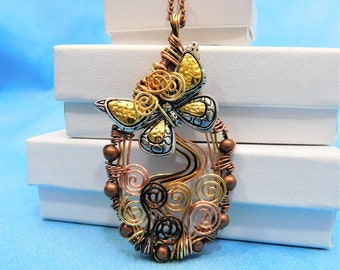 Butterfly Necklace Gift for Wife Unique Wire Wrapped Pendant Girlfriend Jewelry Artisan Crafted Artistic Handmade Mother in Law Gift Ideas