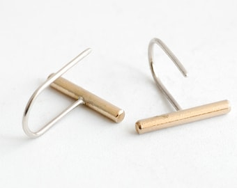 Minimal Brass Bar and Silver drop earrings