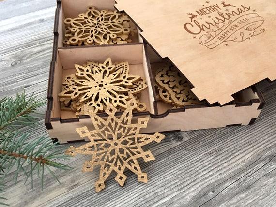 Beau Wooden Snowflake Ornaments, Wood Christmas Decorations, Snowflakes,  Christmas Tree Ornaments, Christmas Gift, Christmas Ornament, Set 8 24