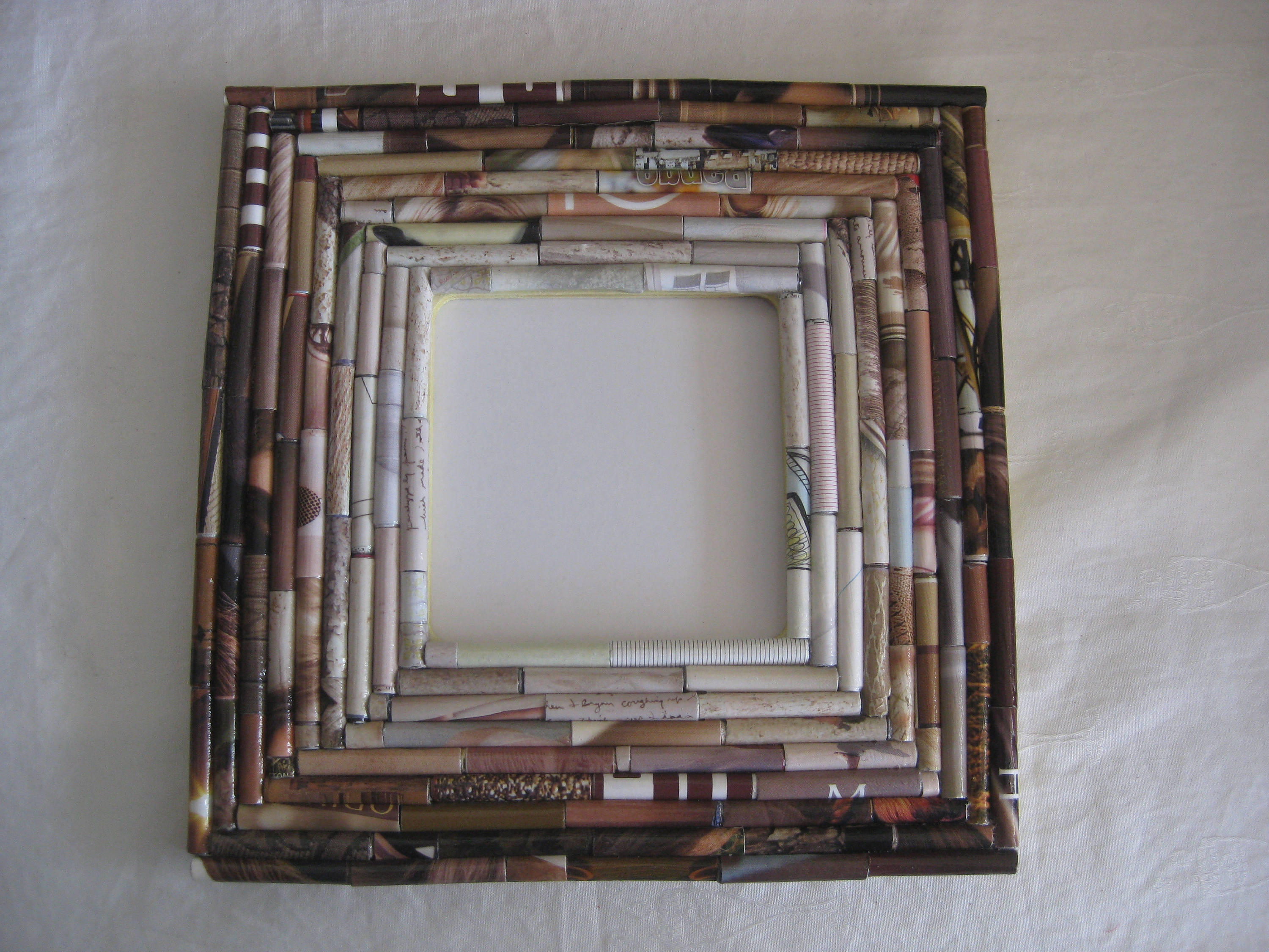 Paper anniversary gift picture frame upcycled hand rolled sold by tovastreasures jeuxipadfo Images