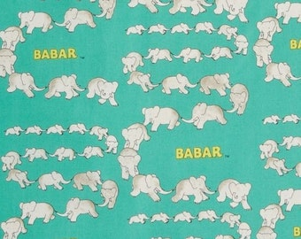 """Cartoon Animal Fabric :  BABAR - Traveling Elephants by Camelot Fabric Turquoise 100% cotton fabric by the yard 36""""x44"""" (CA123)"""