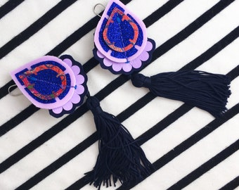 TASSELLED Earrings in navy, glittery blue, lilac and a coral red patterned fabric.  STATEMENT earrings. Dangly earrings.