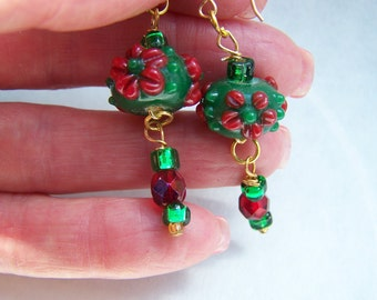 Red Earrings - Green Earrings - Lampwork Glass Dangle Earrings Doodaba