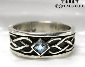 Mens Celtic Soul Ring .925 Sterling Silver Wedding Band Blue topaz Stone Size 9.75
