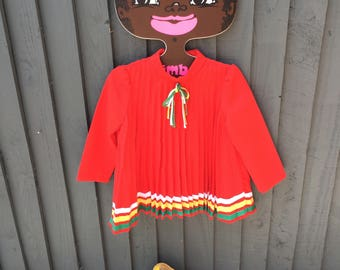 Stunning 1960s red pleated top with tie 2 - 3 years girls vintage