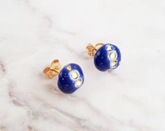 Earring posts studs Stella ceramic - Astral blue and gold