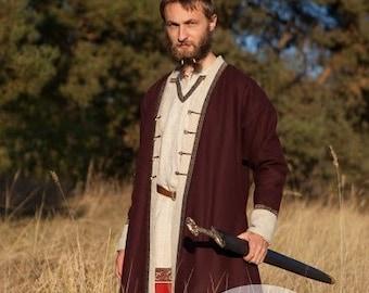 "Mens Coat Viking Kaftan ""Bjorn the Broadsword""; Woolen Coat; Viking Costume"
