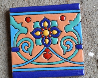 "10   Mexican Talavera Tiles handmade- Hand painted 4 ""X 4"""