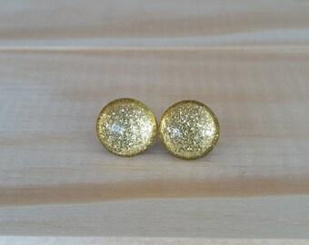 Florentine Gold Glitter, Titanium Posts, Super Sparkly Glitter Studs, Glass Tile Earrings, Gift Idea, Hypoallergenic Studs, Bridesmaid Gift