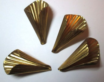 2 Vintage Brass Ribbed Cone Findings