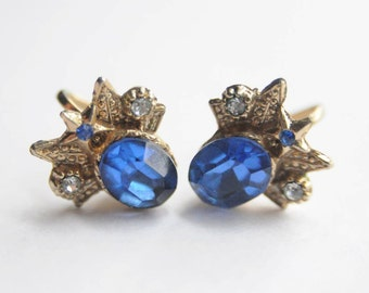 50's SIGNED CORO Earrings in Sapphire Blue with Rhinestones Wedding Cocktail Hollywood
