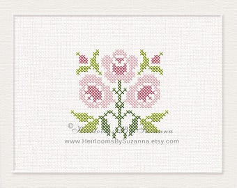 Antique Cross Stitch Rose Design - Machine Embroidery Design - Machine Cross Stitch Embroidery - Floral Cross Stitch Design - HBS-AROSE-4