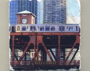 Wells Street Bridge -  Original Coaster
