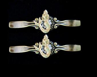 WOW Set of 2 Gorgeous Vintage Golden Bronze Silver Shimmer Mermaid Cabinet Drawer Handle Pulls  Sooooo Pretty!