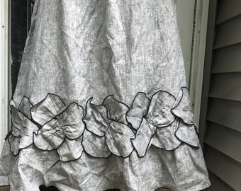 Gray Crossweave Long Linen Petal Skirt L