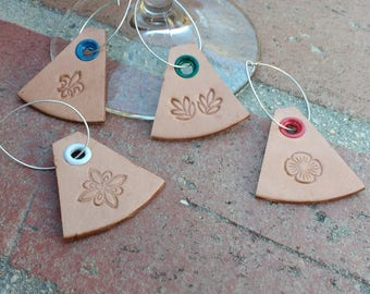 Leather Wine Glass Tags - Classic