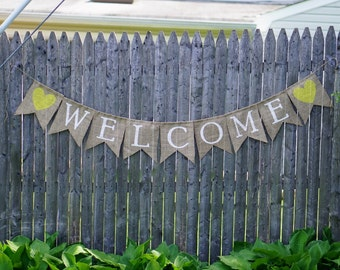 Welcome Wedding Sign, Wedding Banner, Burlap Welcome Banner, Wedding Decor, Welcome Sign, Party Banner, Rustic Wedding, Wedding Sign