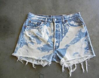 """Vintage Levi's """"White Washed"""" Denim Shorts"""