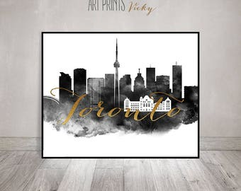 Toronto wall art, black and white print, Toronto watercolor poster, Toronto skyline, travel poster, faux gold, Gift, ArtPrintsVicky