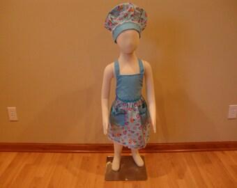 Childrens Adjustable Apron and Chef Hat Set