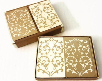 Vintage Bridge Double Deck Playing Cards Gold White Filigree Hearts by Lord & Taylor