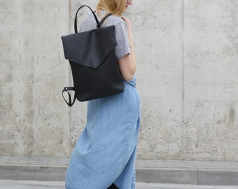 Vegan leather backpack - Black minimal style backpack - Faux leather backpack
