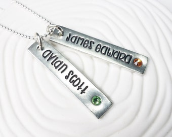 Hand Stamped Mother's Birthstone Necklace - Personalized Jewelry - Stamped Name and Birthstone Necklace - Mommy Jewelry - Gift for Her