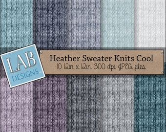 Heather Sweater Knits Cool  - Digital Background Downloadable Textured Scrapbooking Paper Artists Resource for Personal Use.