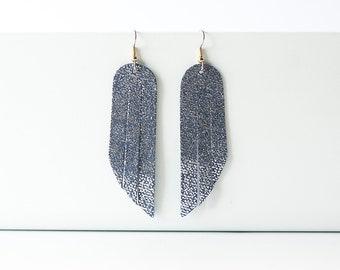Leather Earrings / Fringe / Summer Twilight