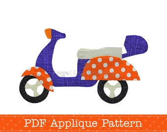 Scooter Applique Template PDF Pattern DIY Make Your Own Fabric Scooter Iron on Applique PDF Template by Angel Lea Designs, Instant Download