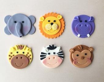 12 Jungle Animal (Safari / Zoo Themed) Fondant Cupcake Toppers