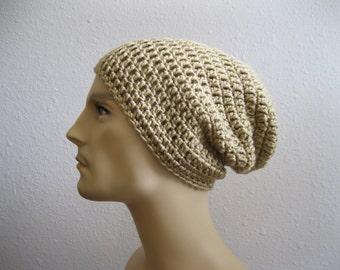 Crochet Beanie - Tan Slouchy Beanie - Mens Hat - Crochet Slouchy Beanie - Winter Hats - Womens Beanie Hat - Crocheted Beanies - Beanie Hats