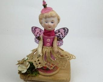 "Butterfly Miniature Art Doll,"" New Wings"", Little Girl Assemblage Art Doll,"