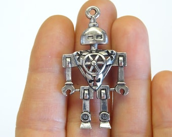 2 Antique Silver Robot Charm (double-sided) 4.6 x 2.5cm - SC1201