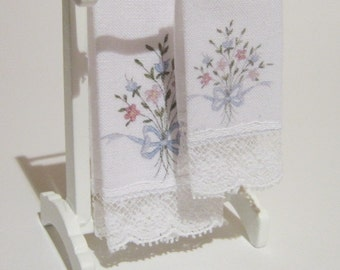 Dollhouse bath towels with lace, Set of two, 1:12 SCALE