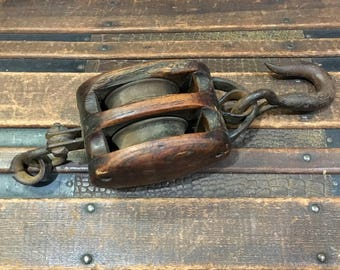 Vintage Block and Tackle Pulley Industrial / Nautical / Farm & Ranch ll