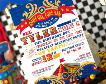 Circus Birthday Party Printable Birthday Invitation - DIY Print - Primary Colors - Vintage Carnival - Made to Order - Printed Invitations