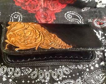 Handmade biker Sheridan style zipper wallet