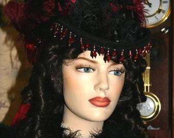 Kentucky Derby Hat Victorian SASS Riding Tea Hat Women's Red & Black Hat - Spirit of Tuscaloosa