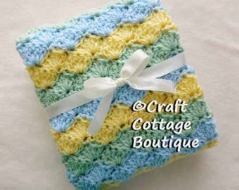 Baby Boy Shower Gift Set --Crochet Baby Blanket & Hat -Travel / Stroller / Car Seat / Crib- Light Blue Green Yellow -Nursery-Knit
