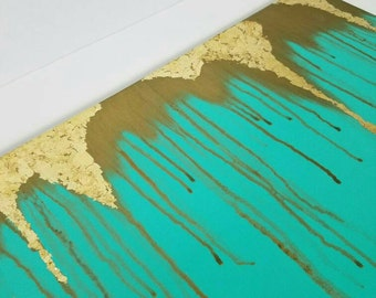 Abstract Gold Leaf Painted Stretched Canvas